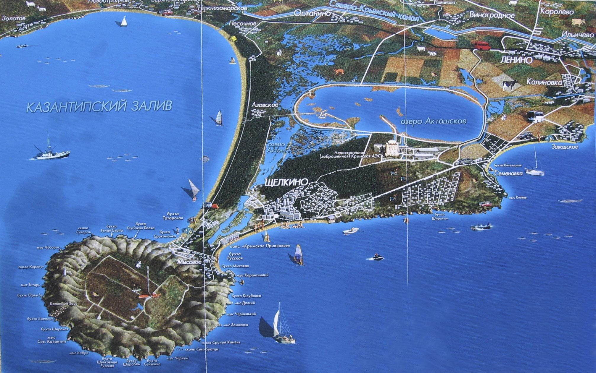 Мыс Казантип на карте